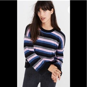 NEW Madewell striped Crewneck Sweater cozy yarn xs